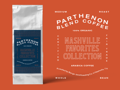 Coffee parthenon type typography musicians corner nashville packaging label coffee