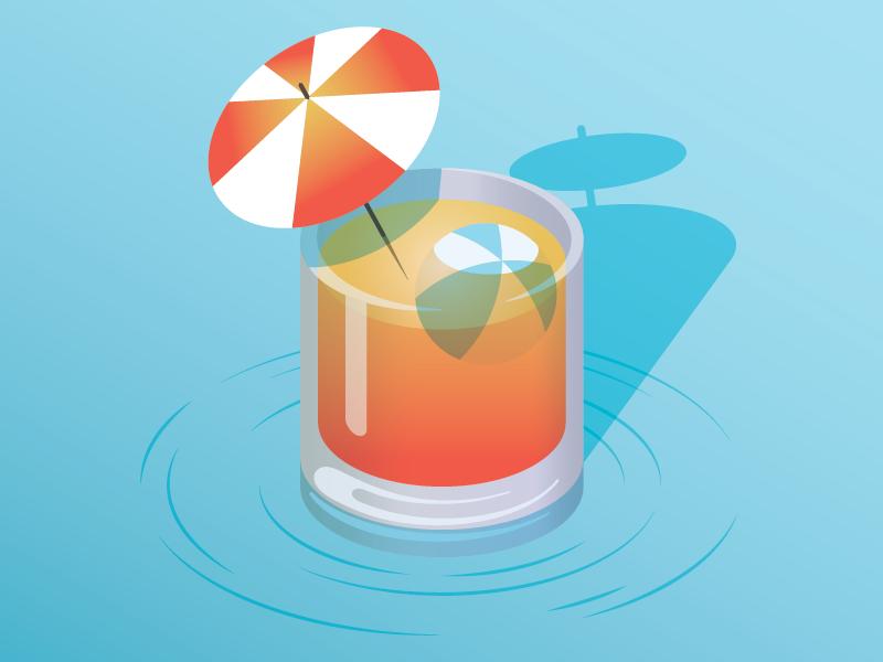 Chillax gradient ocean water beach ball umbrella relax beach warm weather cocktail drink illustration