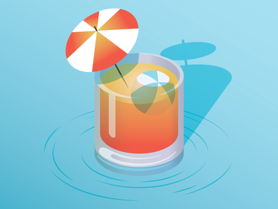Chillax gradient ocean water beach ball umbrella relax beach warm weather cocktail drink illustration