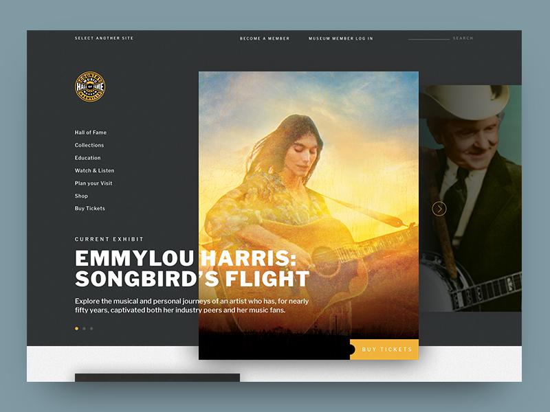 CMHoF concept website country music layout interaction design web design ux design nashville ui