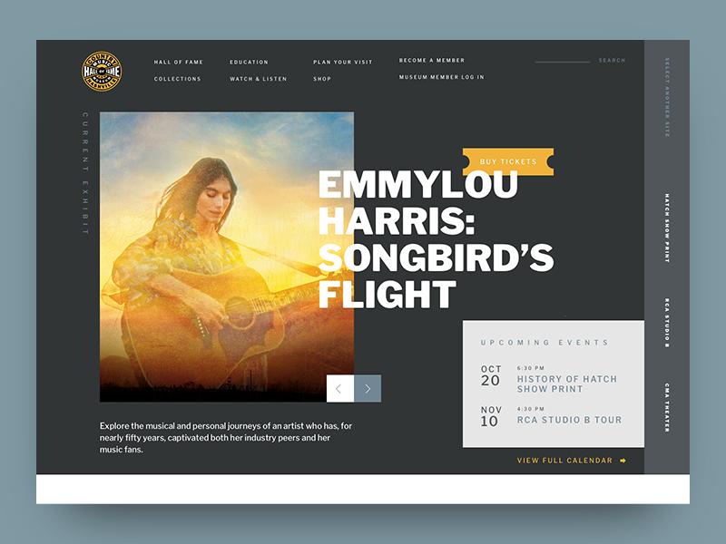 CMHoF concept 2 interaction design website web design nashville ux design ui