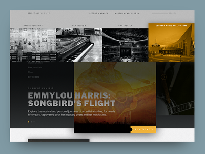 CMHoF concept extras minimal menu homepage interaction design ui ui  ux web design design music nashville