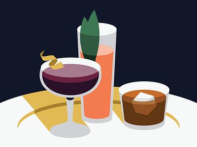 Cheers minimal drinks cocktails illustration