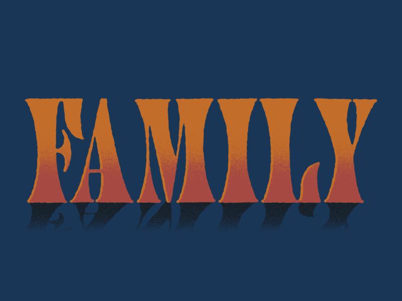 Family gradient texture illustration typography