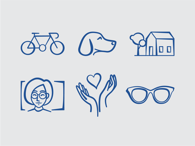 Life compassion hands glasses woman person home house dog bike icon design iconography icons branding design illustration