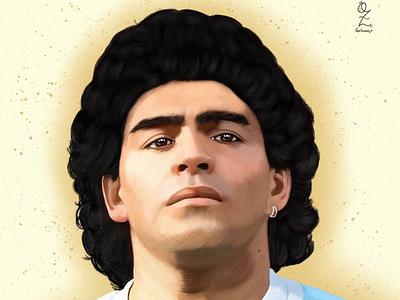 Maradona Oz Galeano portrait art mexico digitalart drawing ozgaleano arte fanart dibujo argentina maradona