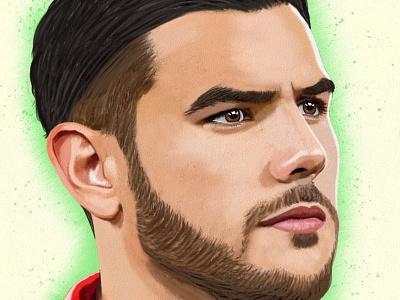 Theo Hernandez Oz Galeano retrato portrait mexico digitalart drawing ozgaleano arte fanart dibujo football milan theo hernandez