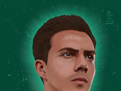 Sebastián Cordova Portrait drawing by Oz Galeano design portrait retrato illustration art digitalart drawing ozgaleano fanart arte dibujo futbol america cordova