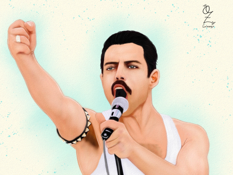 Freddie Mercury Rami Malek mexico music digitalart color fanart ozgaleano drawing dibujo arte movie bohemian rhapsody queen freddie mercury rami malek