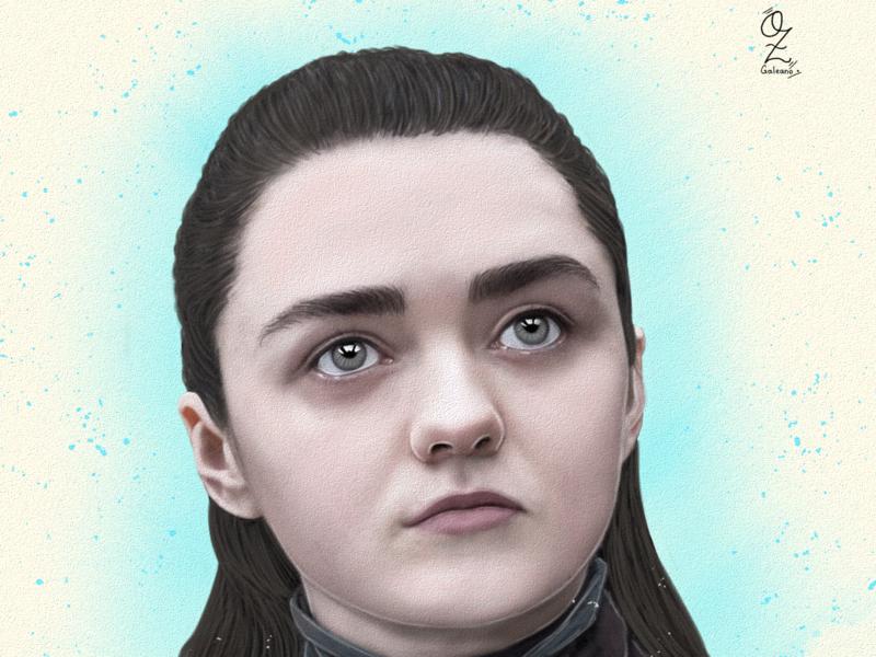 Arya Stark portrait retrato mexico digitalart color fanart ozgaleano drawing art dibujo arte tv series game of thrones arya stark