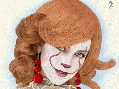 Pennywise girl illustration art ozgaleano diseño web portrait retrato diseño mexico digitalart color fanart drawing dibujo arte buni movie it pennywise