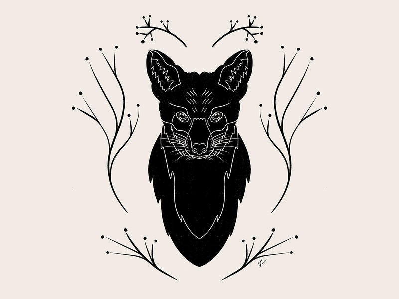 Mr. Fox illustration art forest foxes foxy fox illustration animals animal nature symmetrical symmetry black and white procreate illustration fox