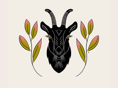 Mr. Goat symmetric animals illustrated animal inky procreate illustration horns eyes black and white blackandwhite leaves goat symmetry