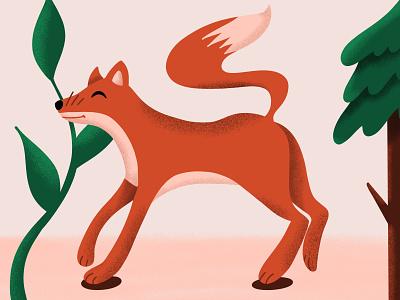 Feeling Foxy flora and fauna trees illustration design animals foxy animal illustration animal grain illustration fox illustration fox
