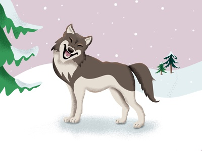 Cheeky Wolf howl footprints trees winter snow wildlife wolves wolf illustration