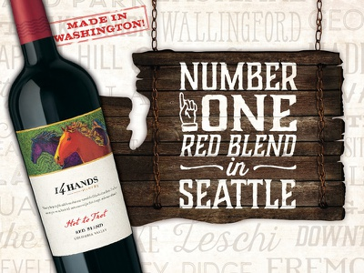 14 Hands Winery #1 Red Blend POS horses seattle hot to trot red blend wine