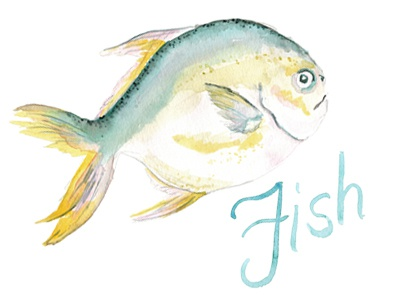 Watercolor fish water seafood food swim swimming sea fish watercolor