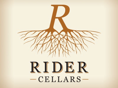 Rider Cellars Label vineyard grapes label. wine packaging