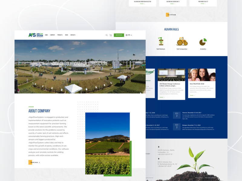 Freebie: Agriculture web design landing page