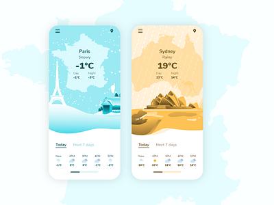 DailyUI 037 Weather weather app temperature meteo 37 daily ui 037 dailyui 037 weather illustration design mobile daily 100 challenge application ui dailyui daily ui