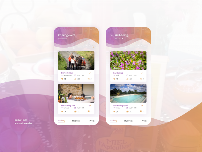 DailyUI 070 Event listing listings 70 070 event listing listing events event design mobile daily 100 challenge application ui dailyui daily ui