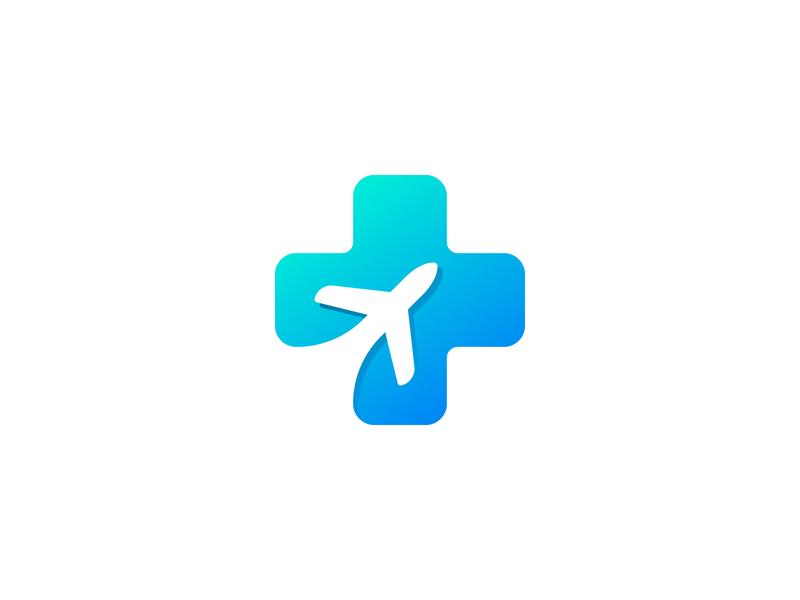 Plane + Medicine Plus simple medicine plus modern mark love logomark logodesign logo plane gradient colorful clean