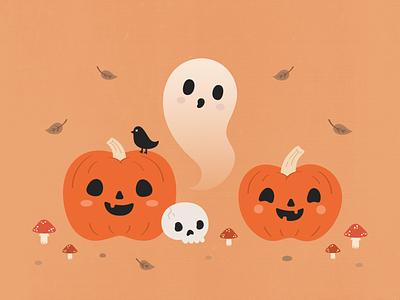 Haunted Harvest design vector illustration autumn fall ghost pumpkin halloween