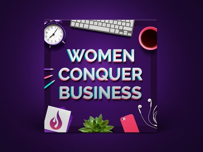 Podcast Cover — Women Conquer Business illustration podcast logo podcast art podcast cover art podcast cover podcast logo branding graphic design xqggqx