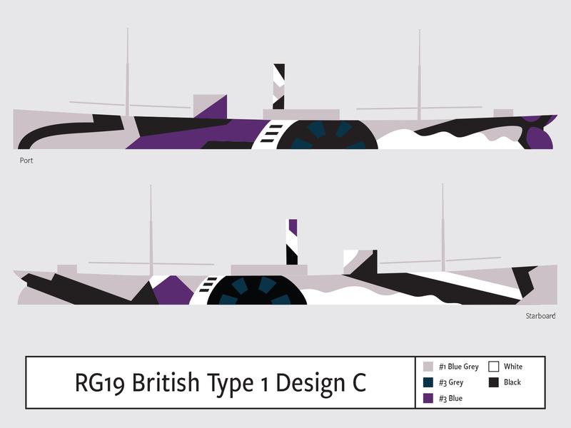 RG19 British Type1 Design C illustration dazzle camouflage