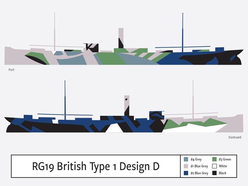 RG19 British Type1 Design D illustration camouflage dazzle