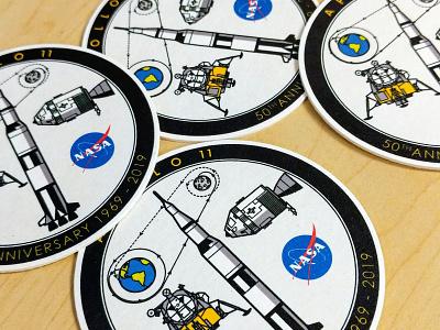 Apollo 11 50th Anniversary coasters moon coasters sticker mule rocket apollo 11 nasa