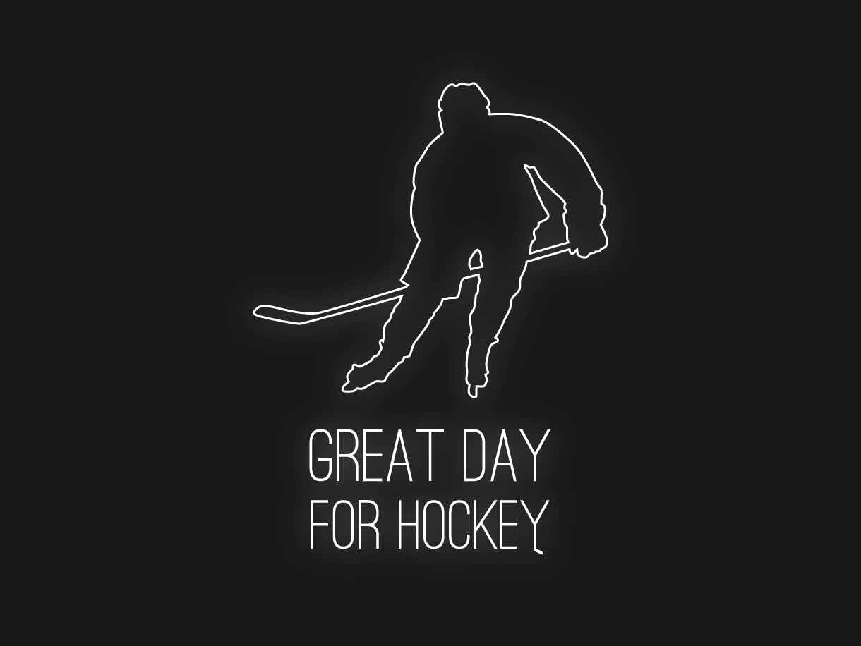 Great day for hockey (unused, for sale) hockey stick hockey player for day great hockey logo hockey logo logo design sell for sale unused buy for sale buy now buy design illustration buy logo vector czech illustrator