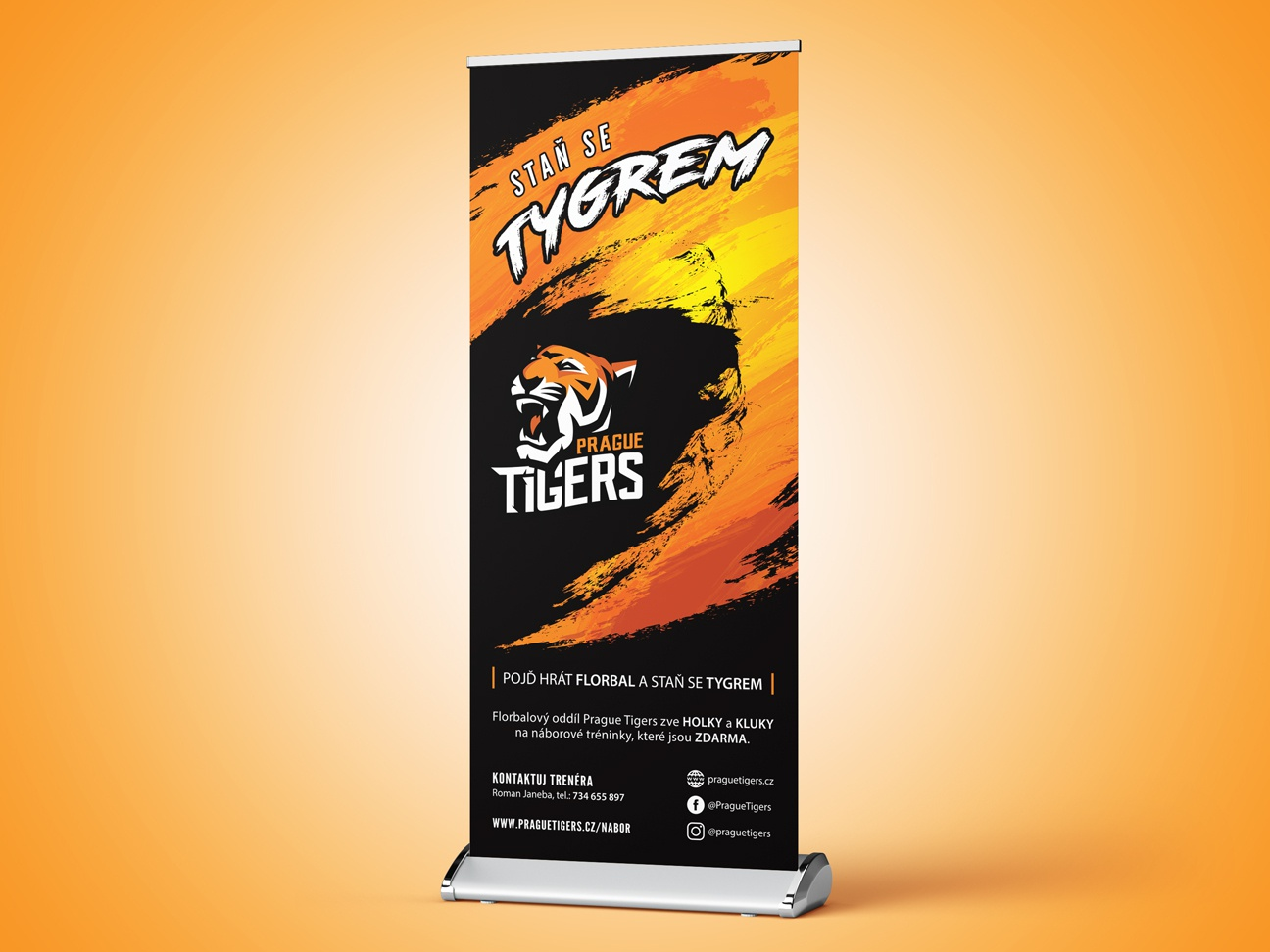 Prague Tigers roll-up floorball ads ad ad campaign orange sport design roll up banner roll sport team team prague tigers tiger branding roll-up roll up sport branding sport czech design