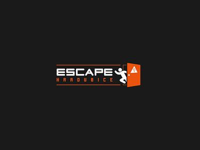 Escape Hradubice logo game running man away logodesign running runner run door hradubice escape room escape logotype vector illustrator branding logo design logo business czech design