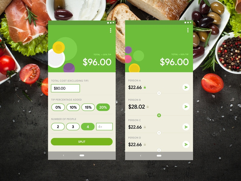 Calculator, Split The Bill calculator tip android restaurant bill food green daily ui 004 daily ui