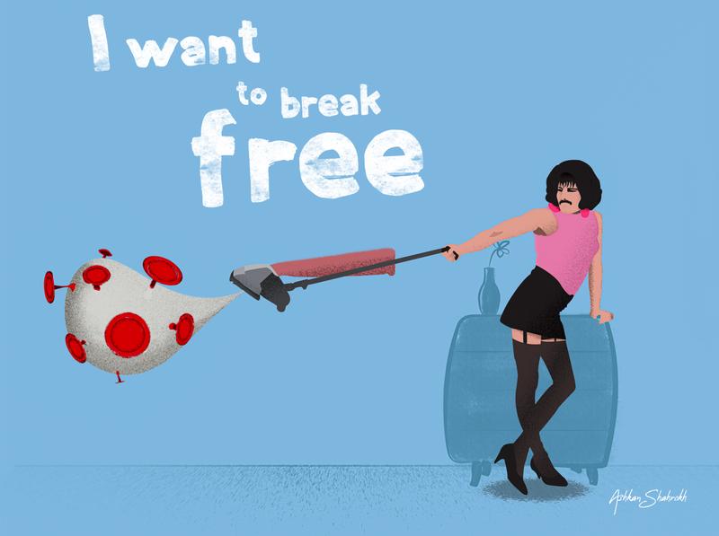 I Want to Break Free From Corona! illustrator art freddie mercury queen vector illustration covid19