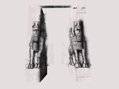 Gate of All Nations iran persepolis shading wacom intuos drawing illustration