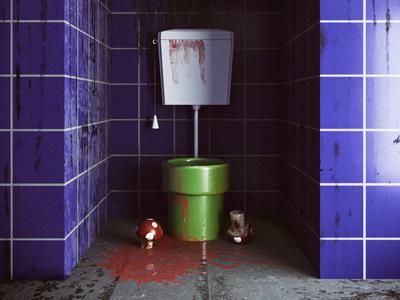 Mario Crime Scene videogames mario kart mariobros design corona corona renderer 3dsmax