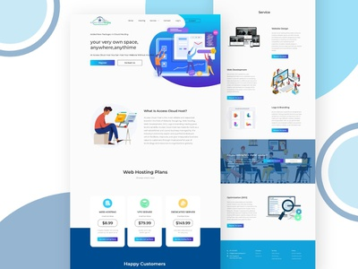 Full website design for hosting reseller and web design agency. digital solution server hosting website design ui landing page insurance design creative