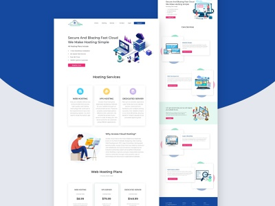 Access Cloud Host illustration design ui  ux ui seo logodesign web development uiux xd design psd mockup mockup web template web design website reseller domain hostng