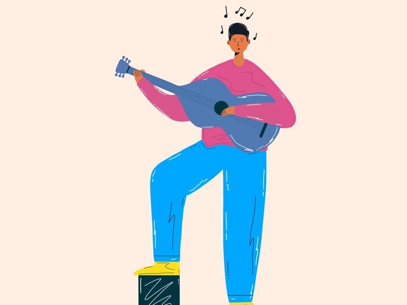 The music flat characterdesign character dribble illustration artwork flat illustration flatdesign colorful minimal