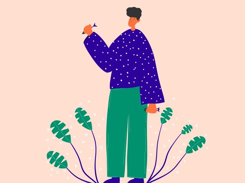 Minimal flat illustration flatdesign botanical art characterdesign character dribble illustration colorful flat illustration minimal