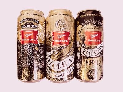 Miller High Life Artist Series illustration package design miller beer