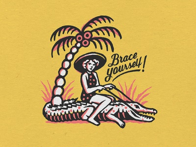 Greeting From Florida alligator illustration florida