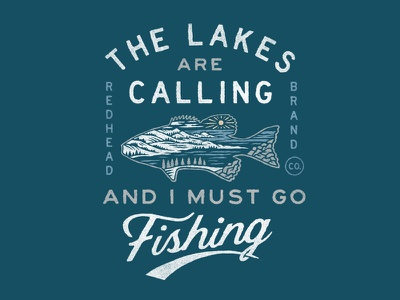 Red Head Brand lake fishing apparel illustration