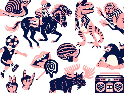 Doodles weird animals illustration