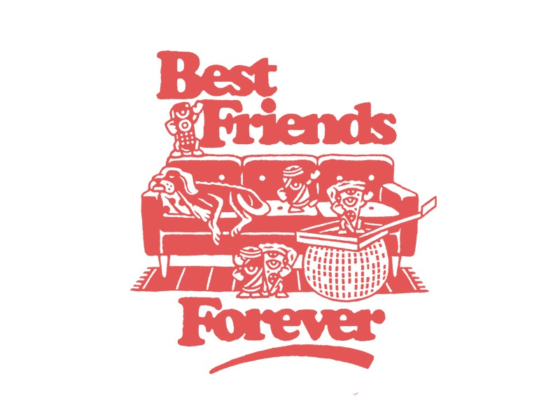 BFF's couch beer pizza best friends