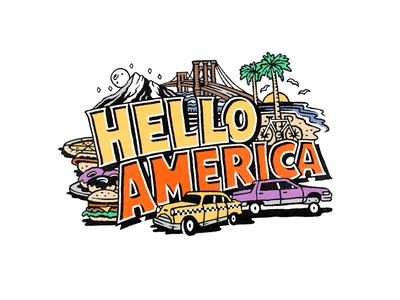 Hello America postcard america illustration
