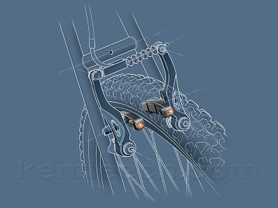 Bike Brake Lights pencil drawing product illustration technical illustrator illustration
