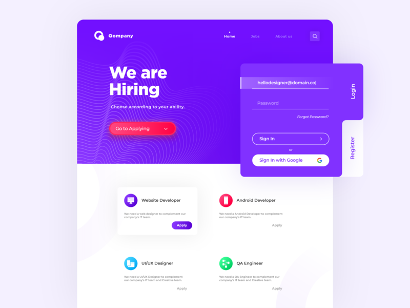 Jobs Search Website - Landing Page